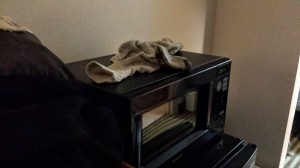 In a random hotel in Lebanon, TN...we are graced with the presence of Buddha the Grouch's socks...on the microwave